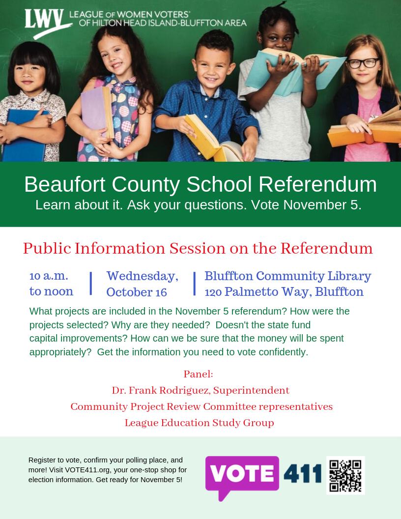 Beaufort School Referendum Info Session: Oct. 16, 10 am, Bluffton Library
