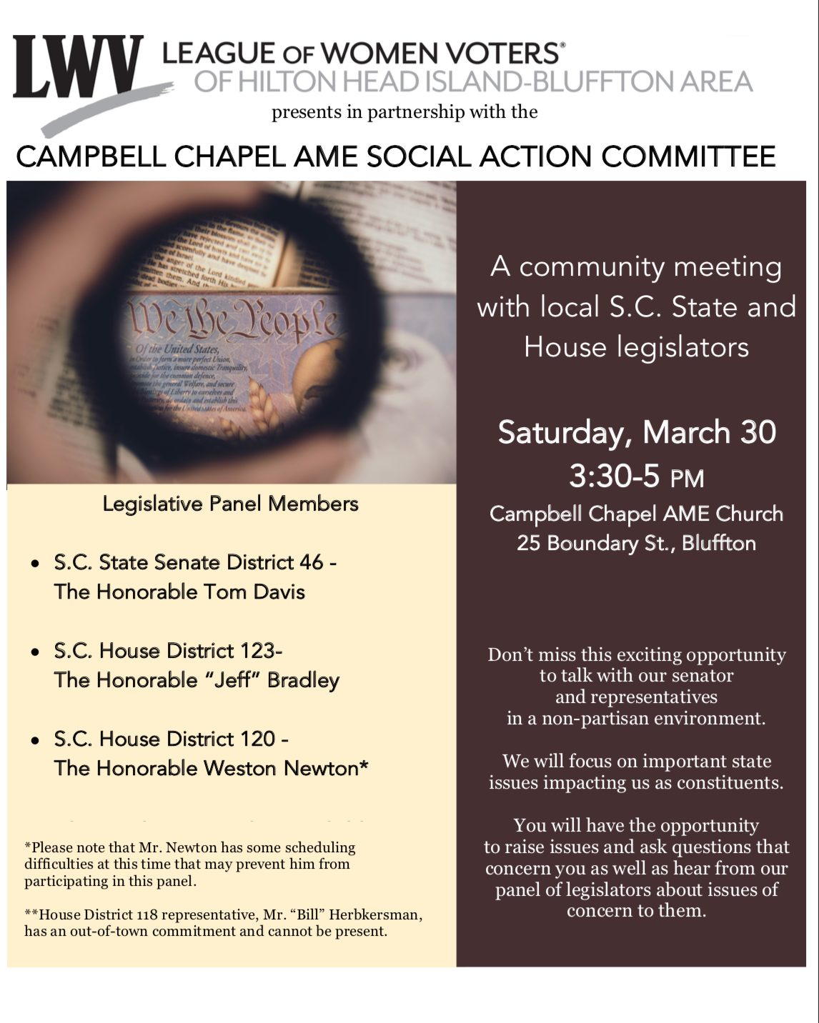 March 30, 3:30-5 pm State Legislator Panel, Campbell AME Chapel