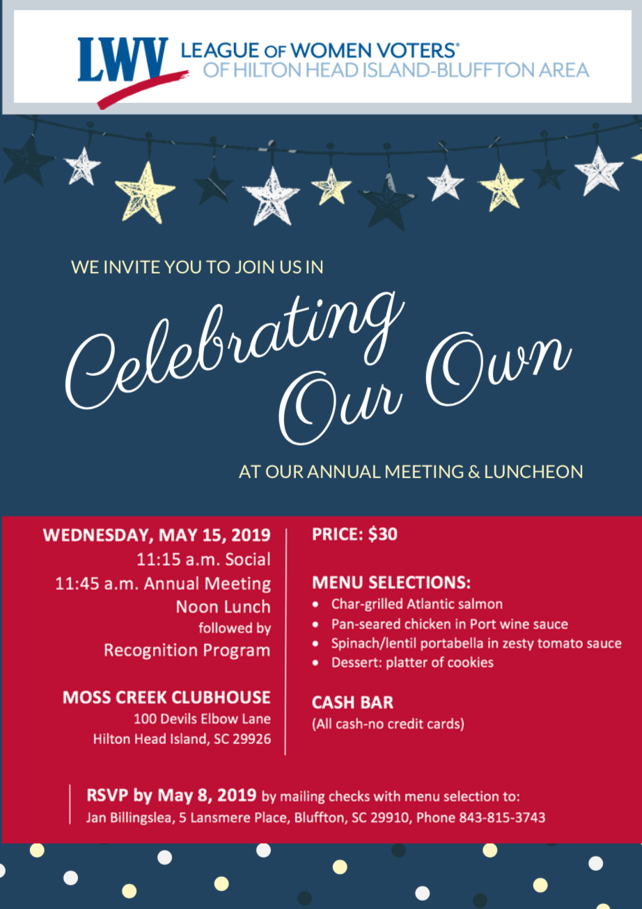 May 15 Annual Meeting & Luncheon Celebrating Our Own flyer