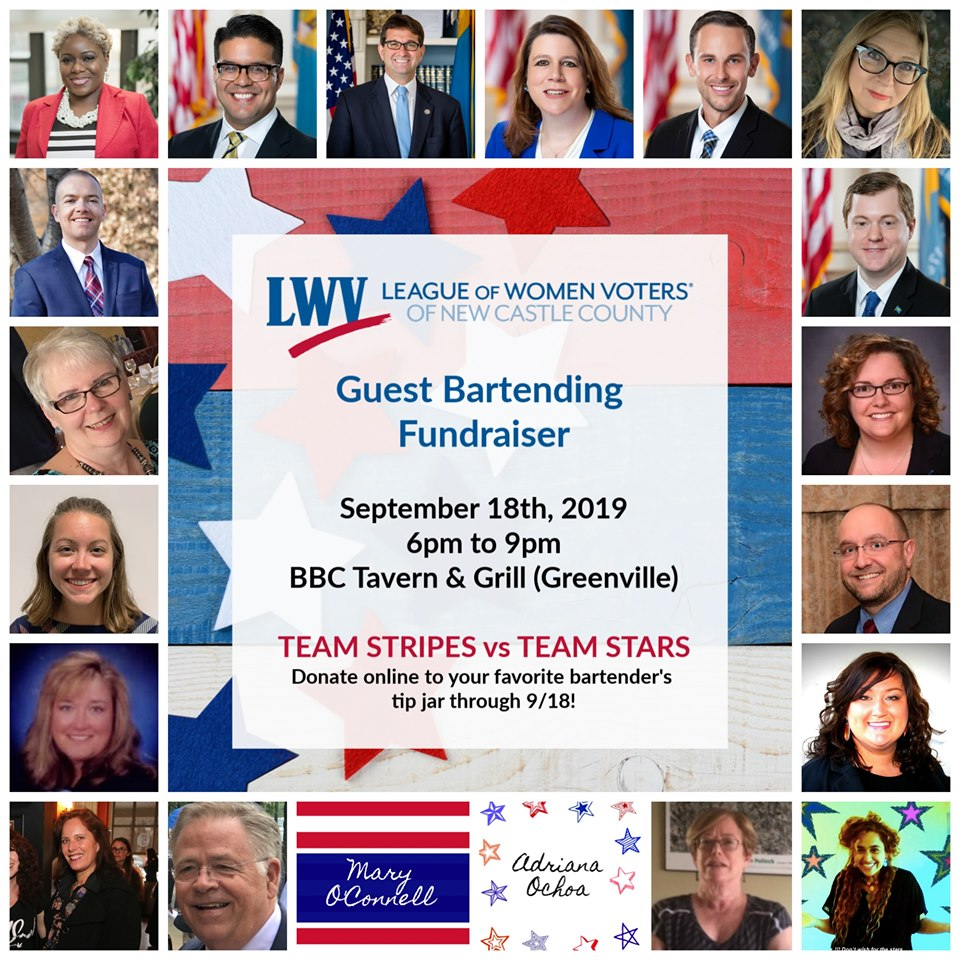 LWV - League of Women Voters of New Castle County, Guest Bartending Fundraiser (event details & participant photos)