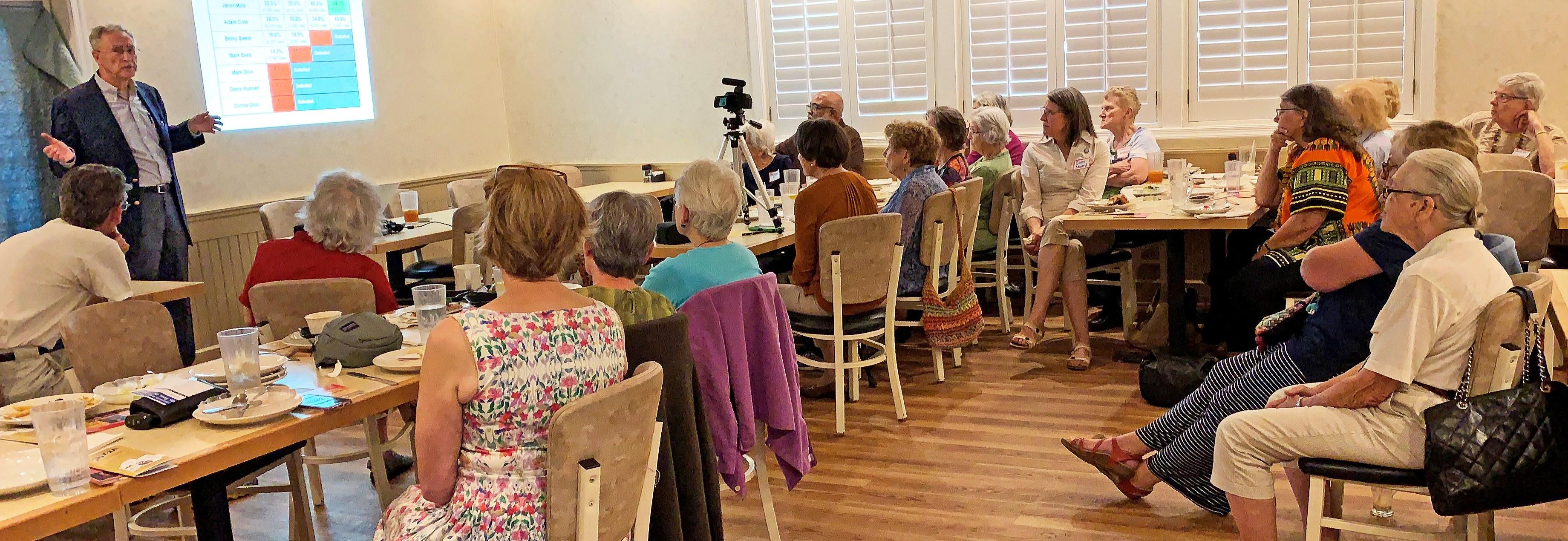 LWVNCC members and guests listen to Dr. Jack Nagel speak