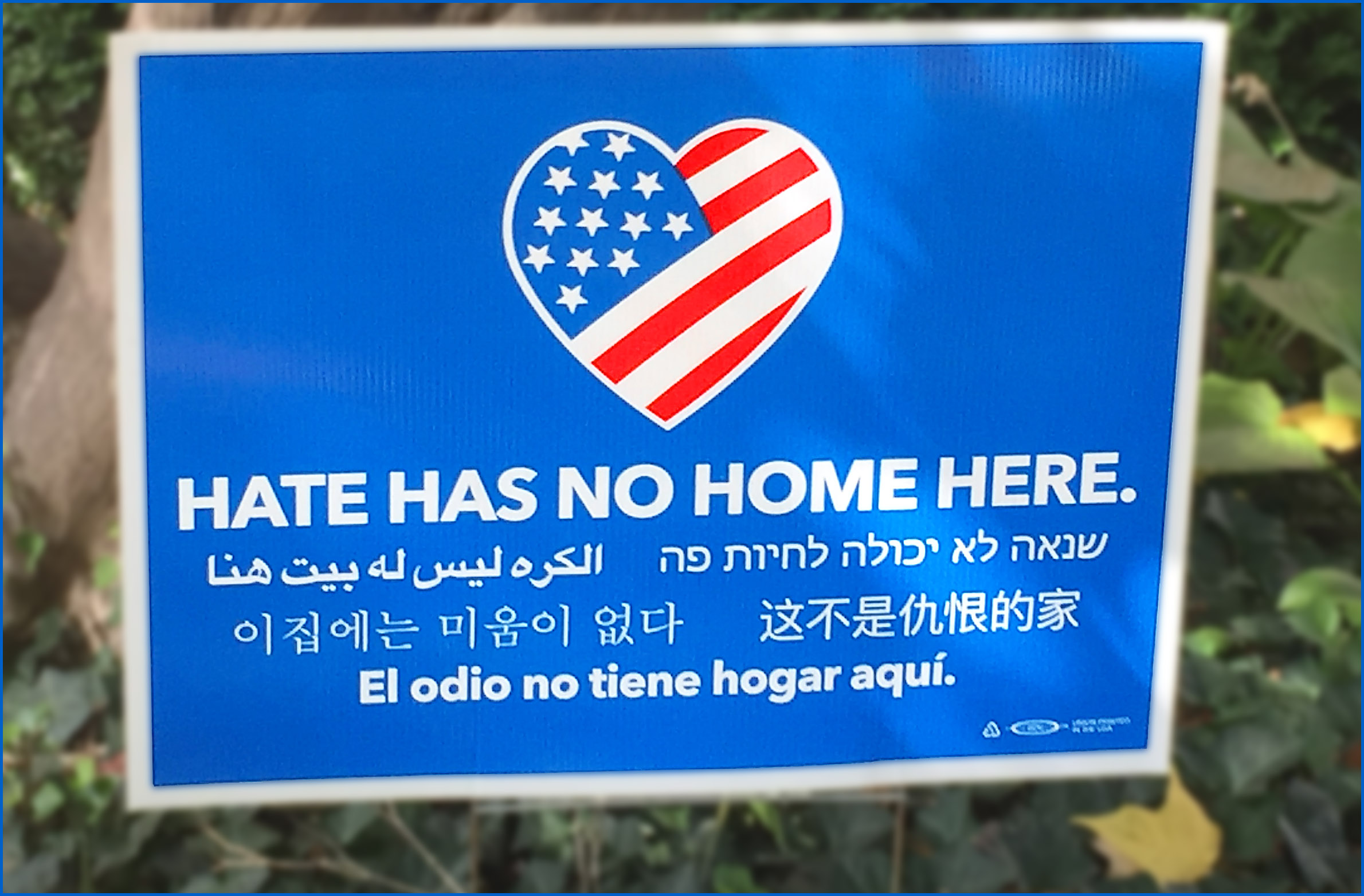 "An image of a blue yard sign reading, ""HATE HAS NO HOME HERE"" in English and five other languages"