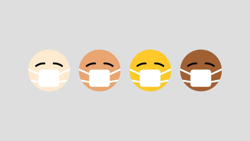 Four masked-faced emoticons