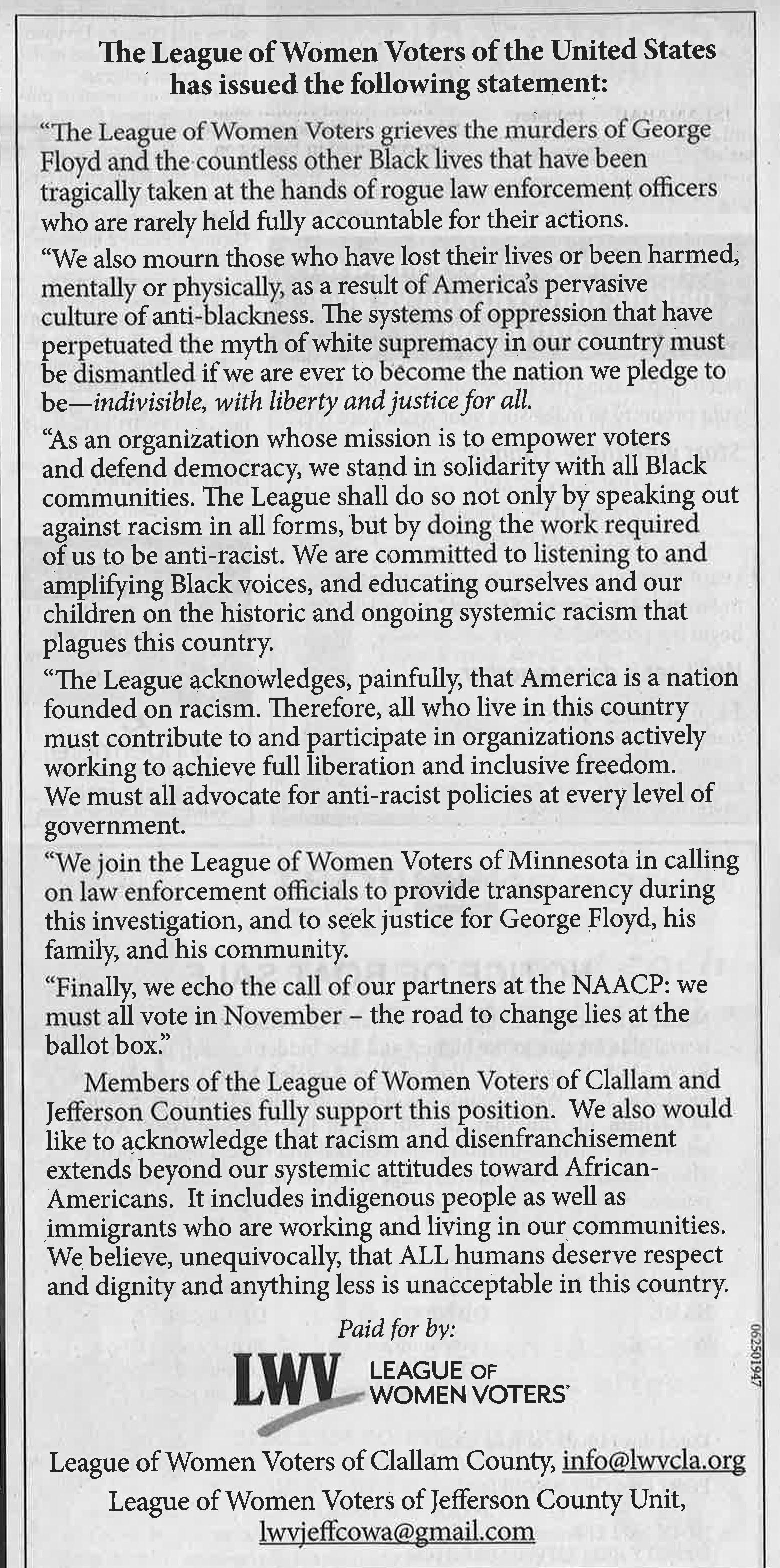 LWVCLA Statement on Racism June 2020