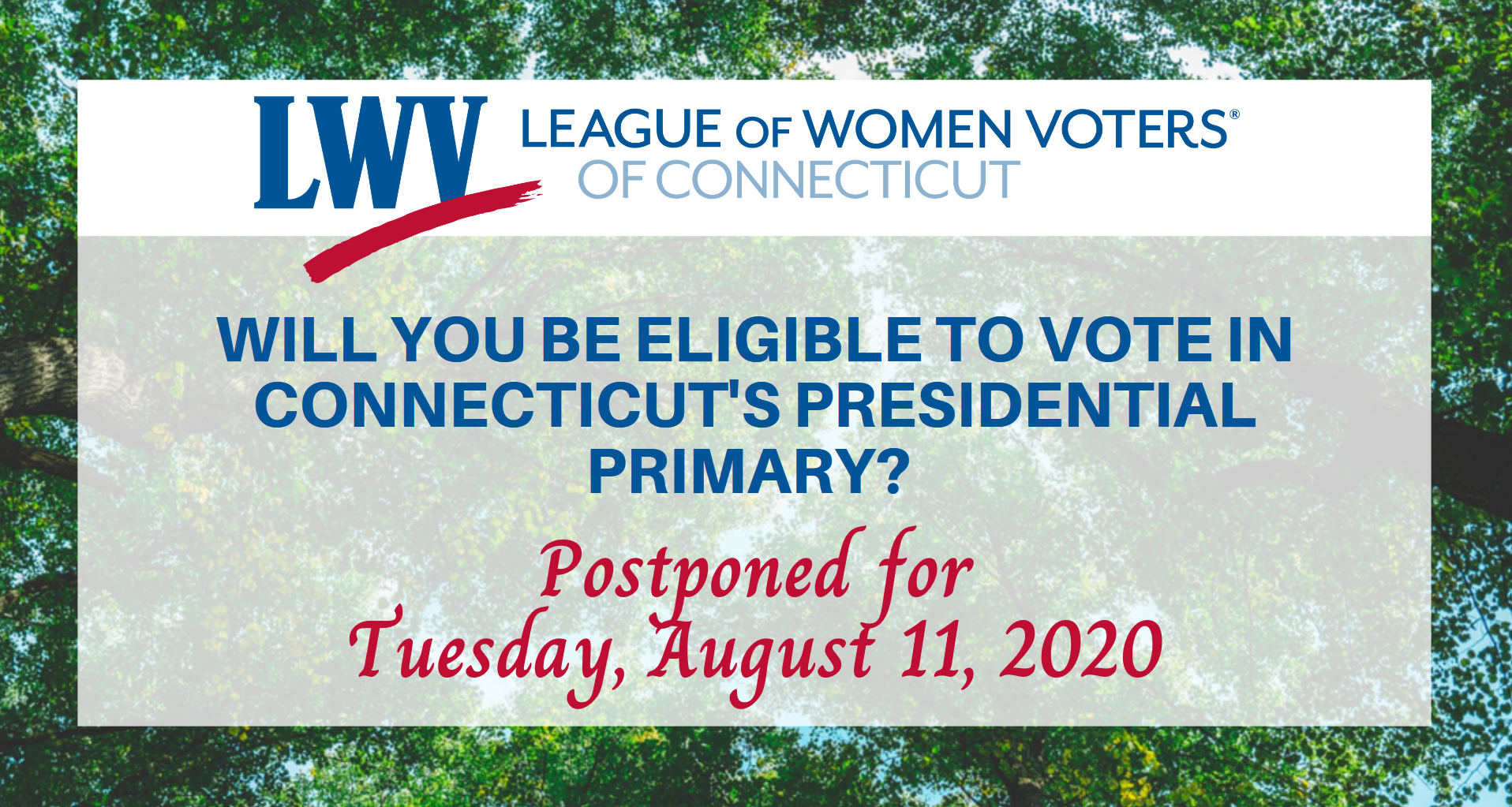 Connecticut Presidential Primary Voter Elegibility August 11 Image