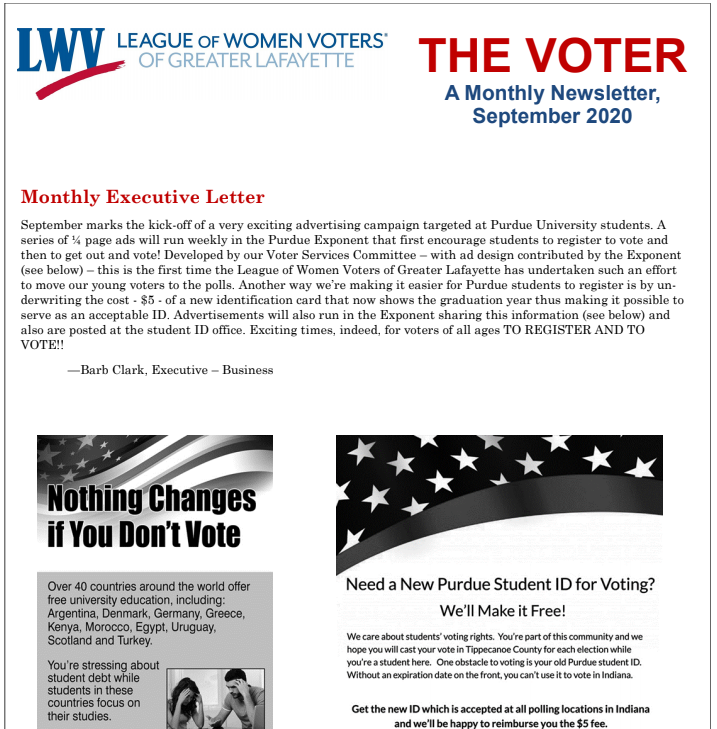 Screenshot of the top half of the newsletter