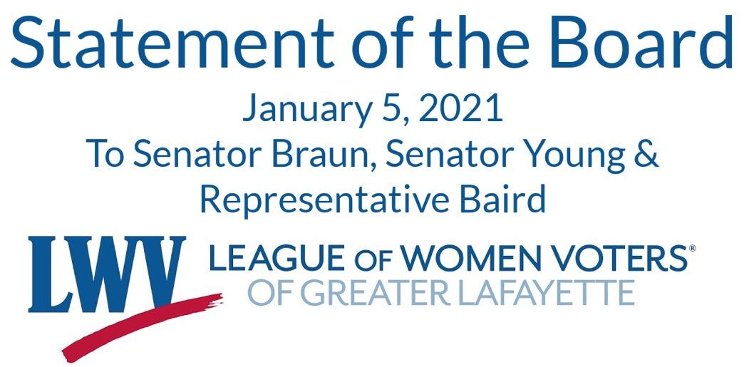"Image of words: ""Statement of the Board - Jan 5 2021 to Senator Braun, Senator Young, & Representative Baird"""