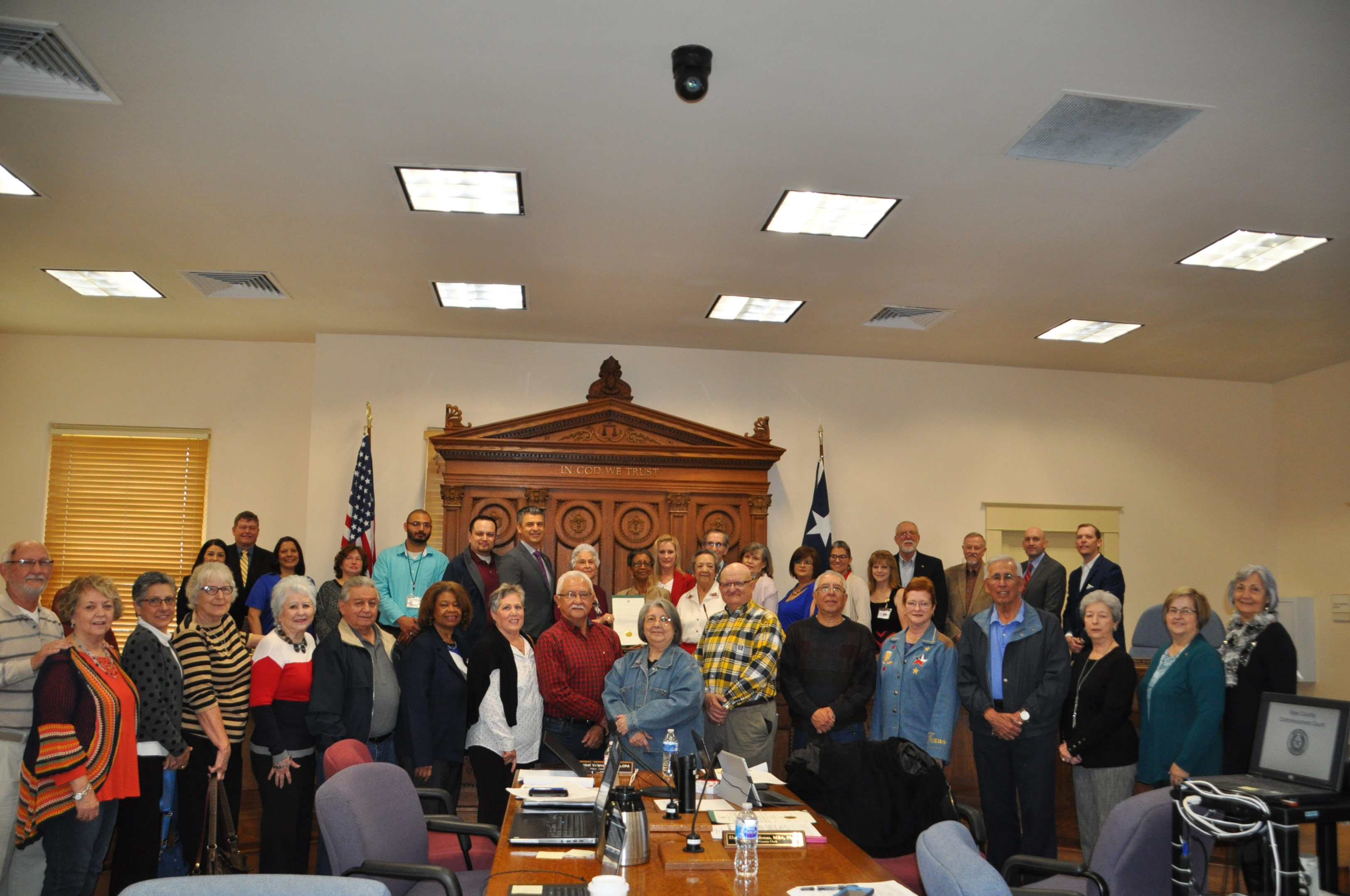 photo-Hays County Commissioners recognize election judges, clerks, and poll-workers