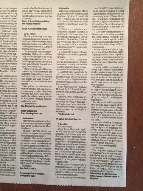 Hingham Journal Letter to the Editor