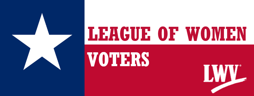 """""""LEAGUE OF WOMEN VOTERS"""" on Texas flag"""