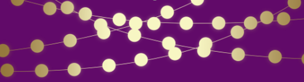 Purple background with gold lines and circles swirled across