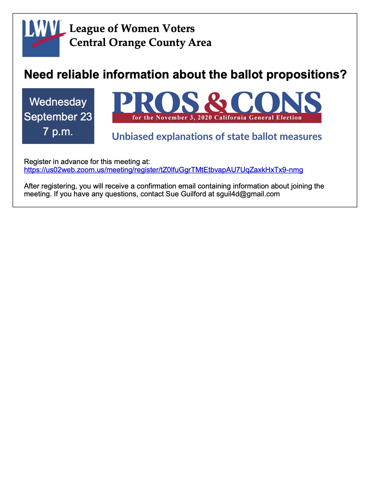 Pros & Cons of CA State Ballot Measures by Zoom on September 23, 2020