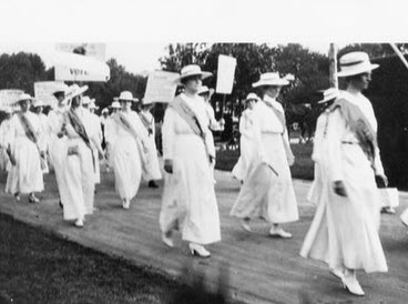 Suffragists walking