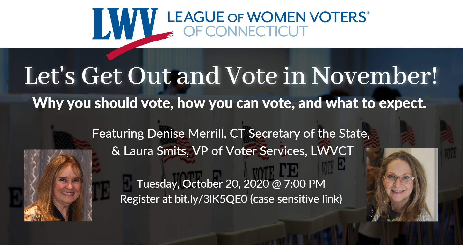 LWVCT Hosts Get out and Vote in November event image