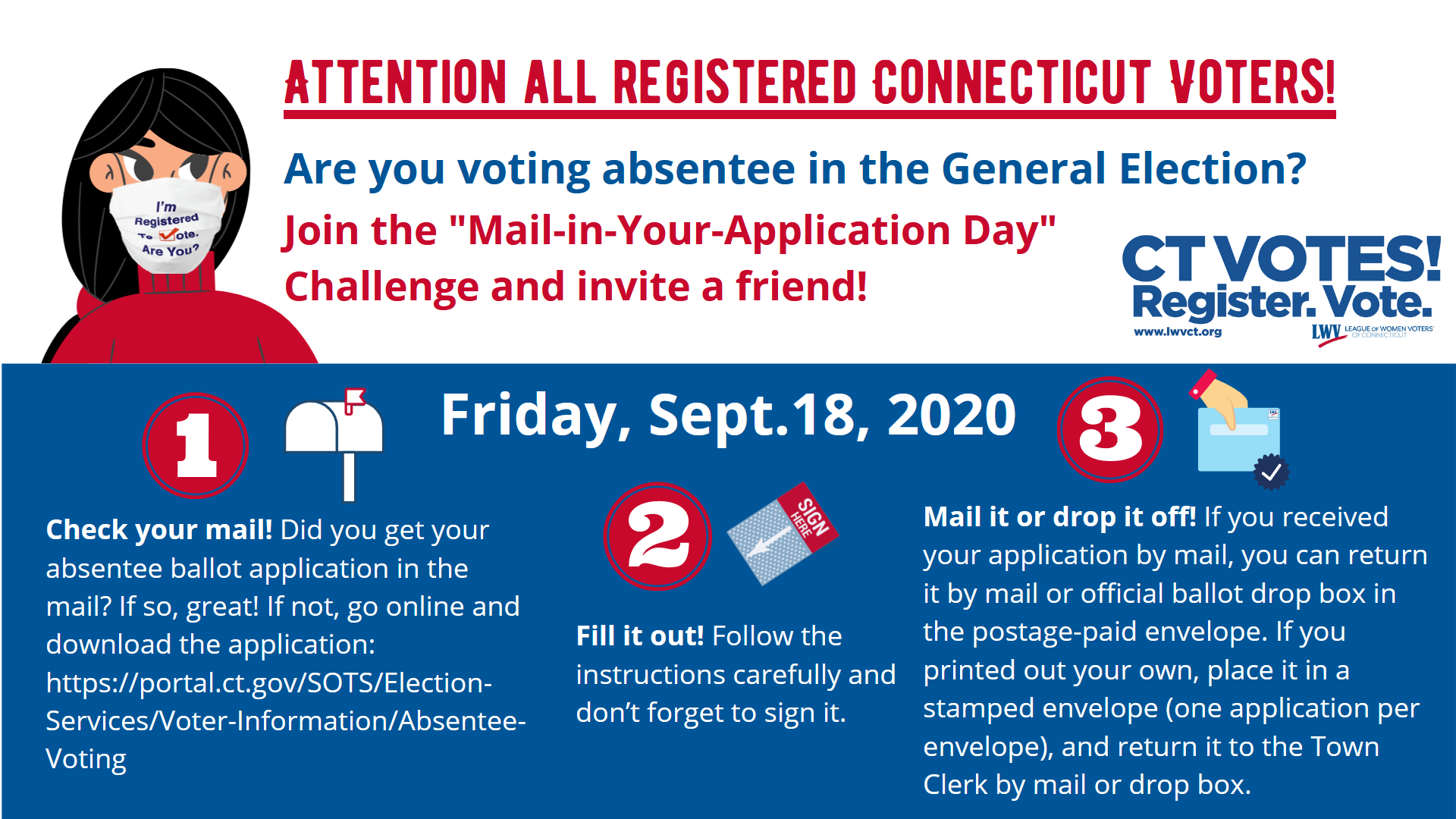 Social Media Image for Absentee Ballot Application Mail in Challenge Event Sept 18 2020