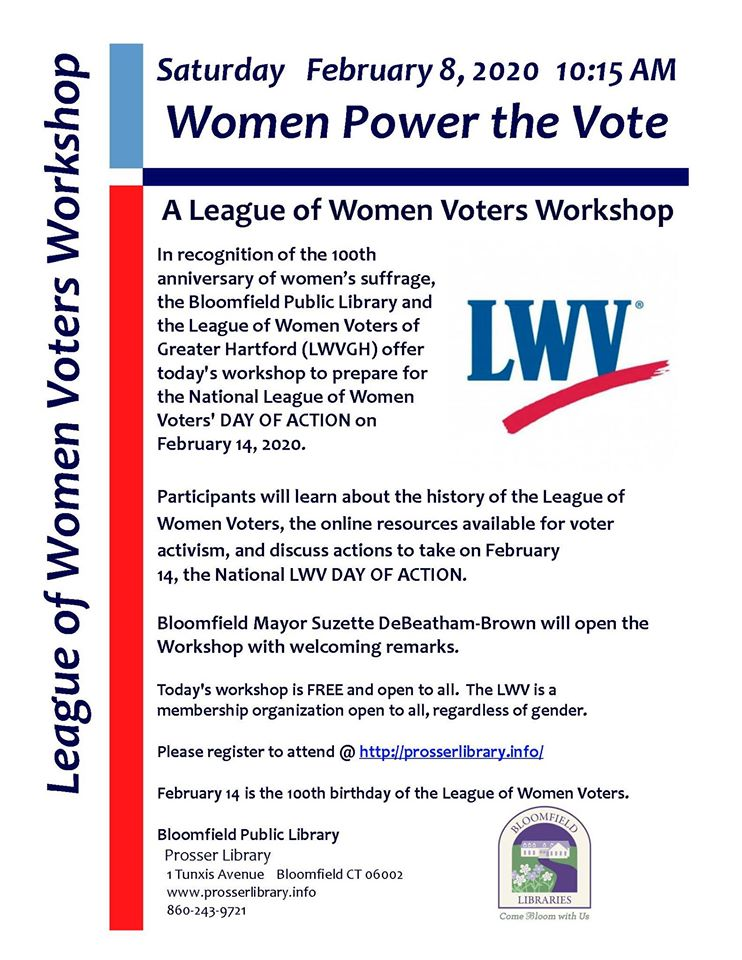 League of Women Voters of Greater Hartford Women Power the Vote February 8 2020 Voters Workshop Event Flyer