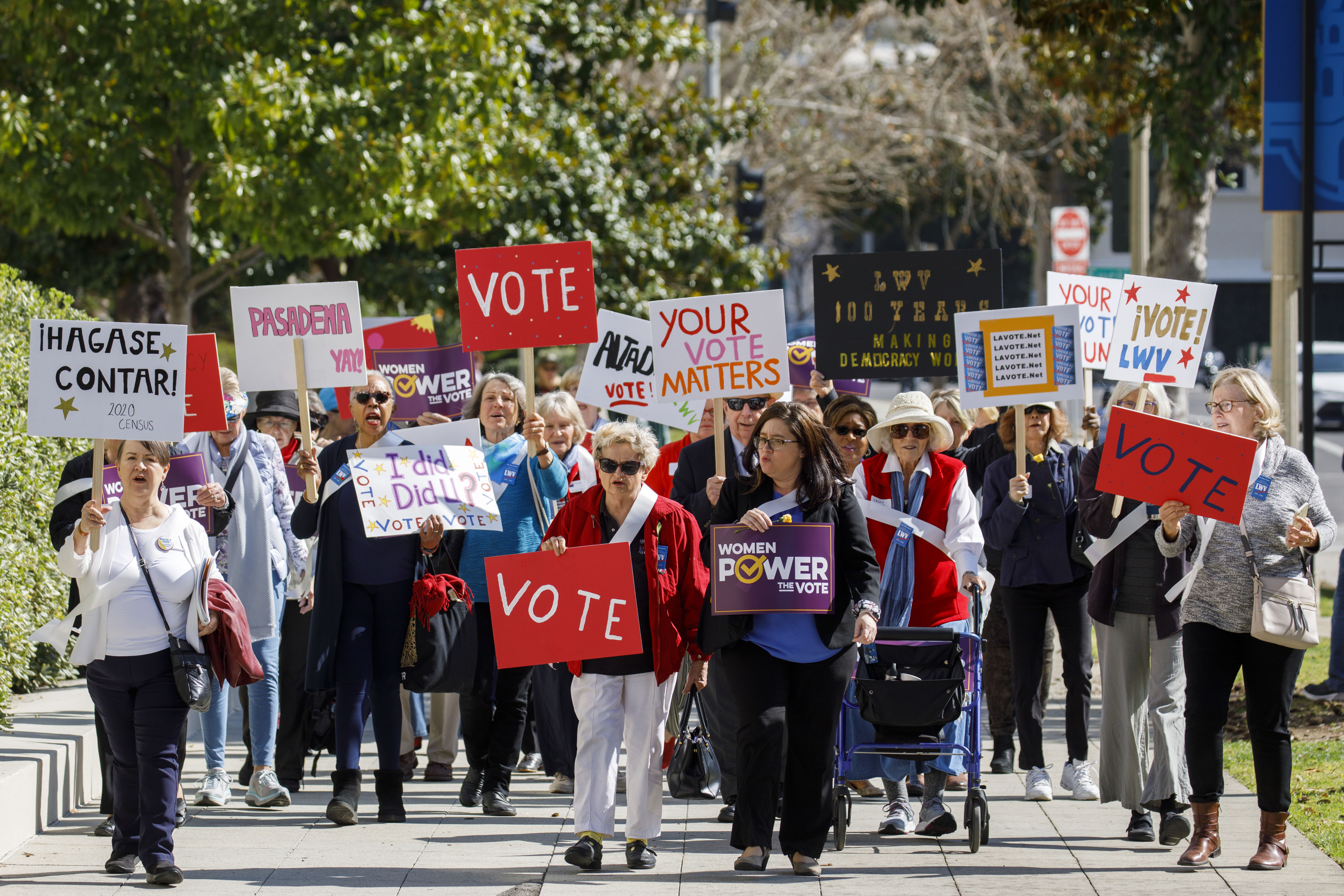 Group marching withVote signs