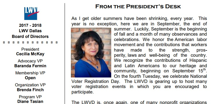 a page from the newsletter