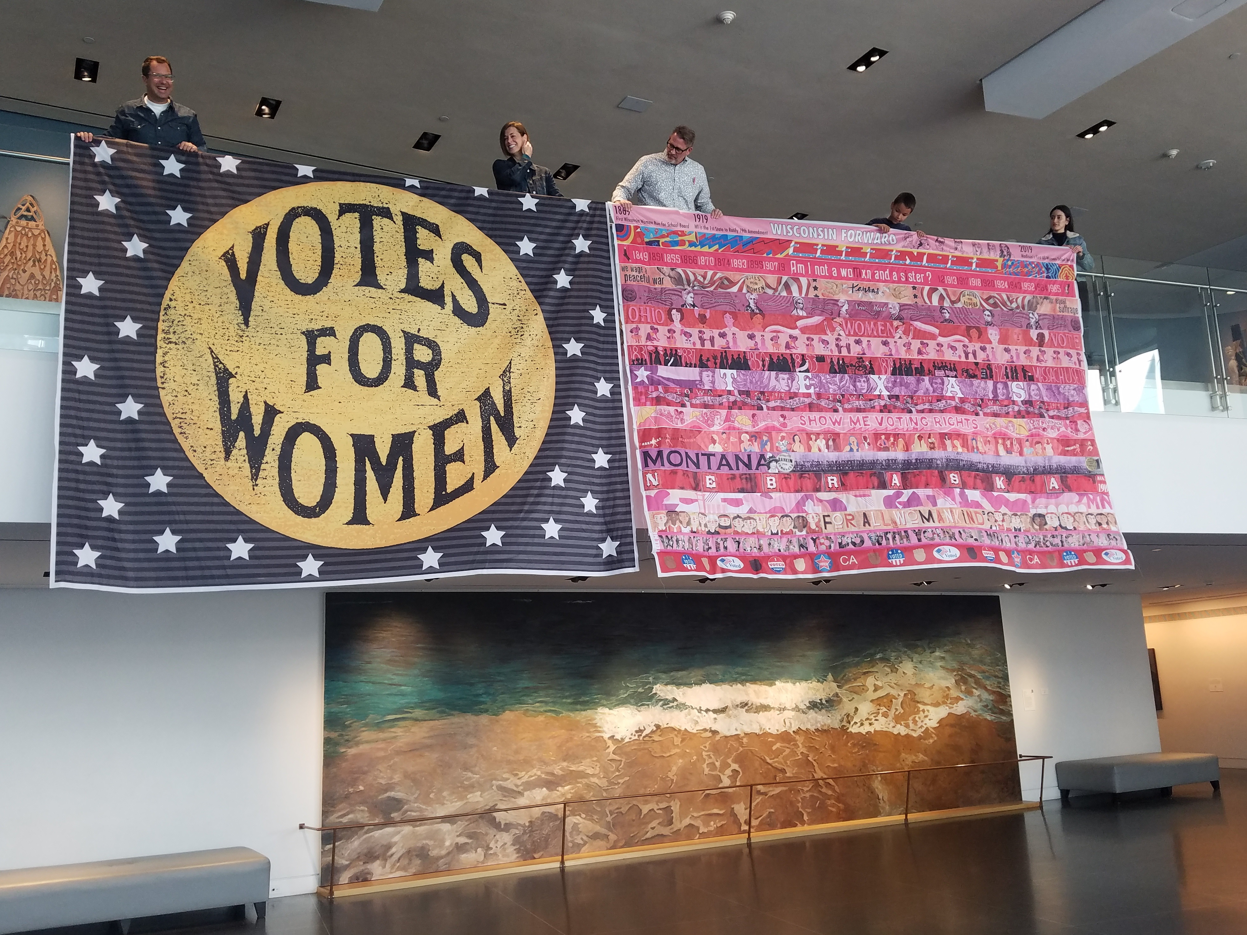 Votes for Women and HerFlag banners in Sacramento November 2019