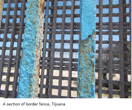 A section of border fence, Tijuana