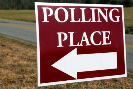 "Sign with arrow, ""Polling Place"""