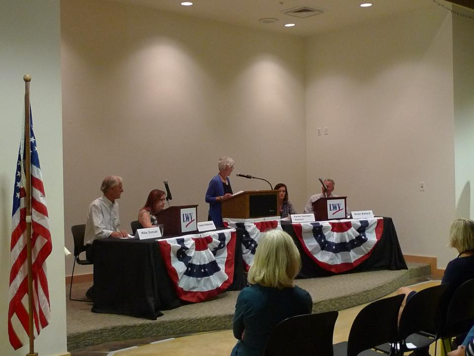 Moab City Candidates 2017 (L to R) - Mike Duncan, Cassie Patterson, (Moderator Carey Dabney), Karen Guzman-Newton and Brian Ballard