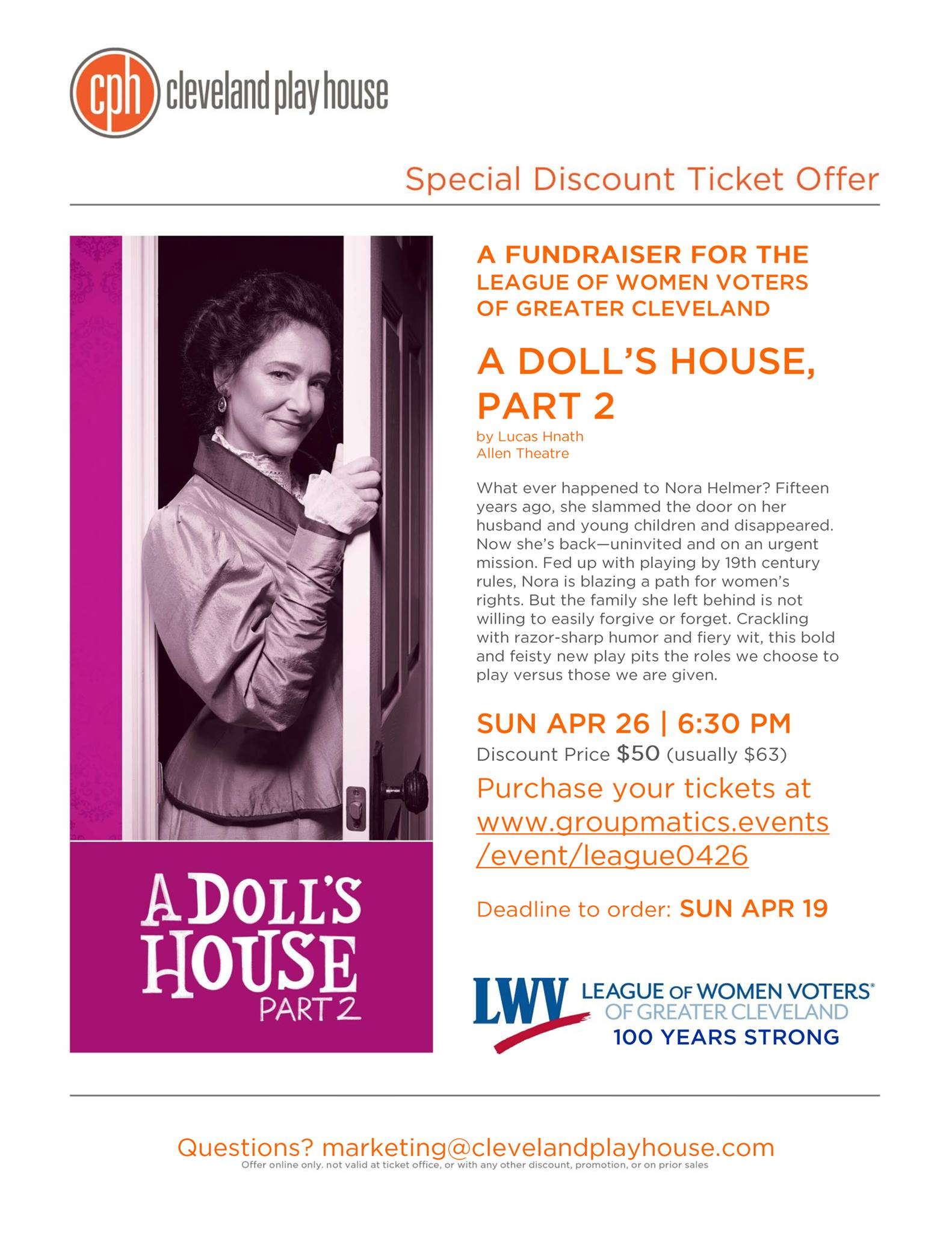 A Doll's House Part 2: A Fundraiser for the League of Women Voters of Greater Cleveland