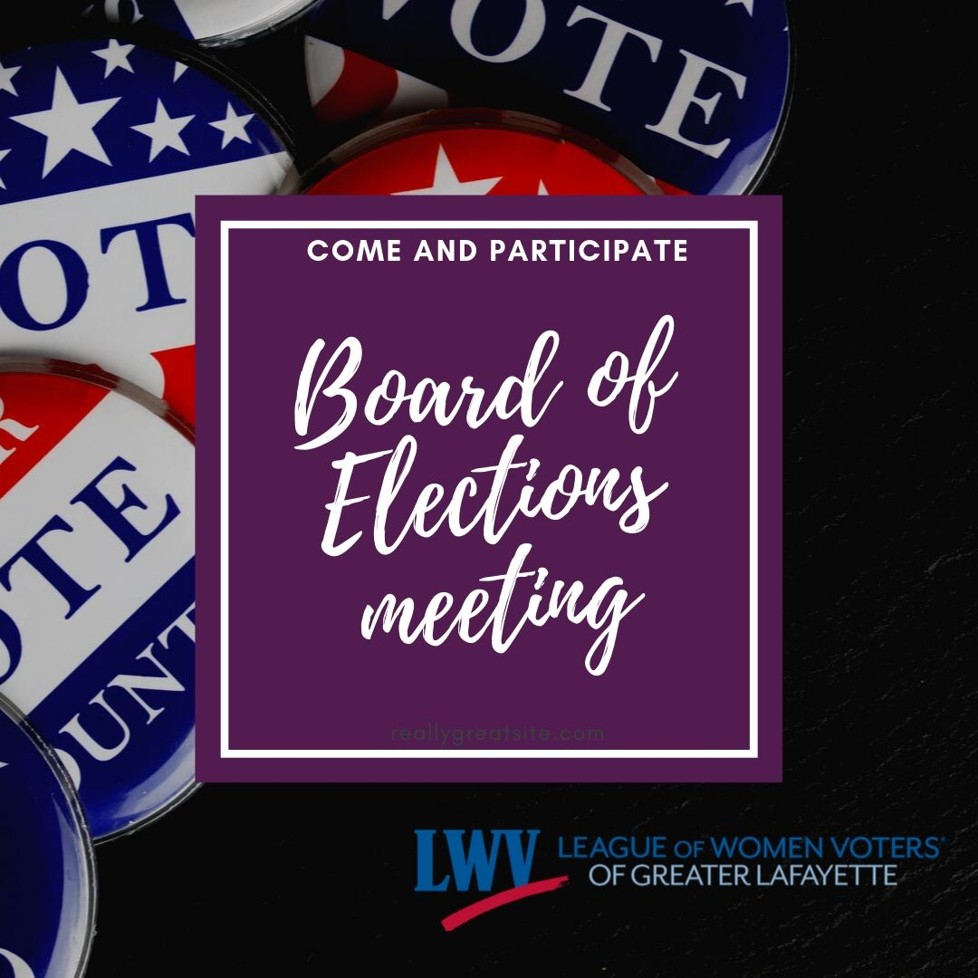 """Red, white and blue """"vote"""" buttons in background, with """"Come participate! Board of Elections meeting"""" on a purple rectangle, centered"""
