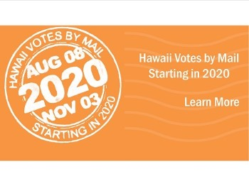 2020 Hawaii Votes By Mail orange postcard
