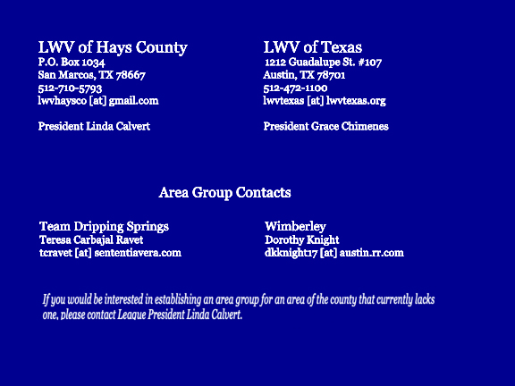 Photo of contact information of LWV Hays Co and LWVTX leadership