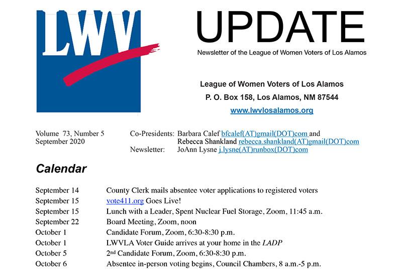 Image-Clip of Sep2020 LWV Los Alamos Newsletter