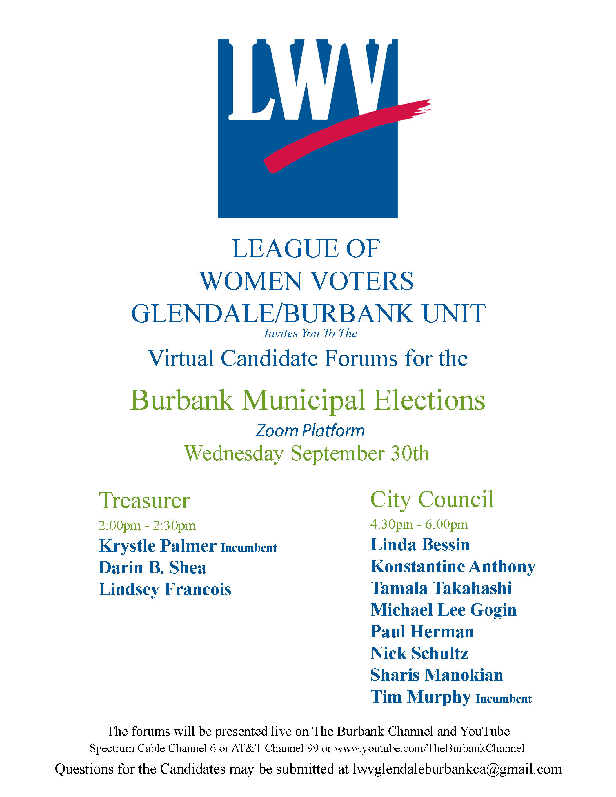Glendale/Burbank Candidate Forums