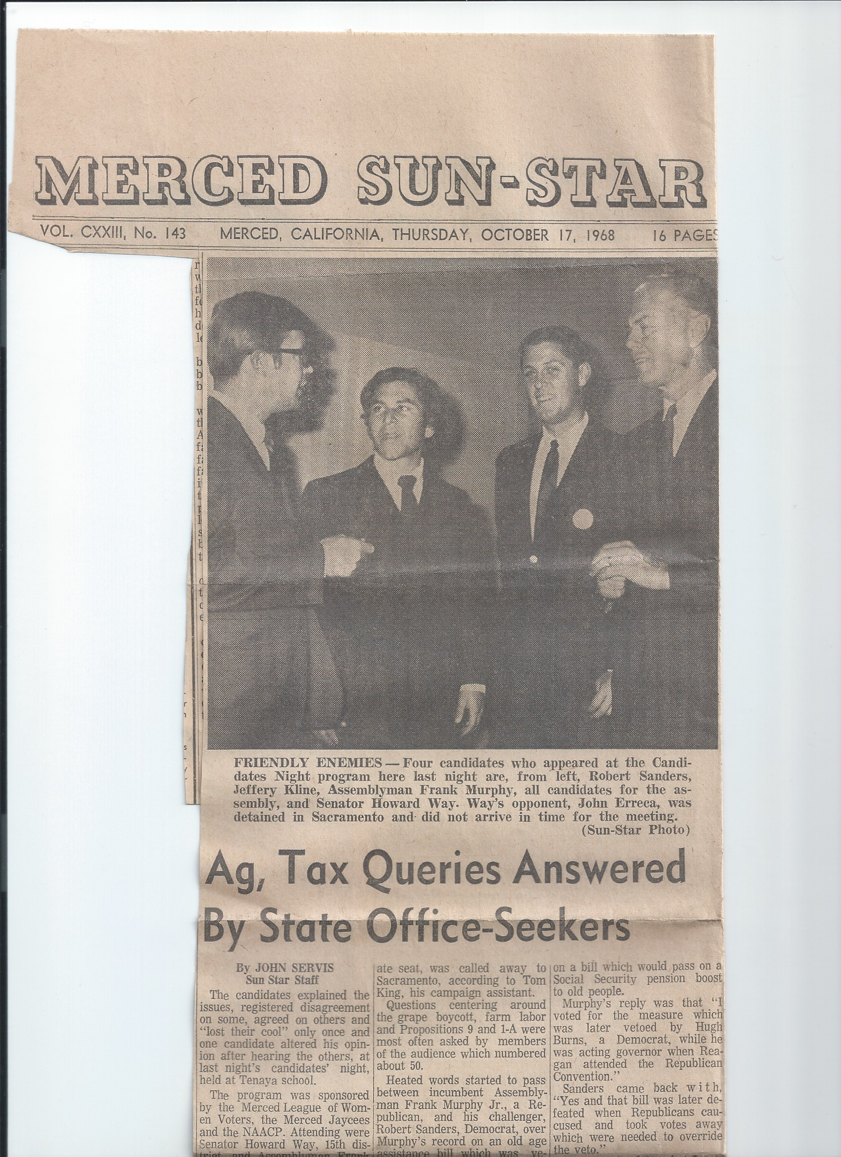 1960s League Candidates forum newspaper article