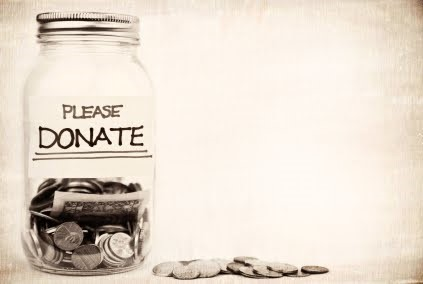 a picture of a donation jar
