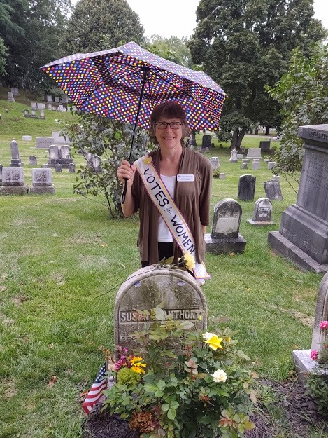 Woman at Susan B. Anthony grave site
