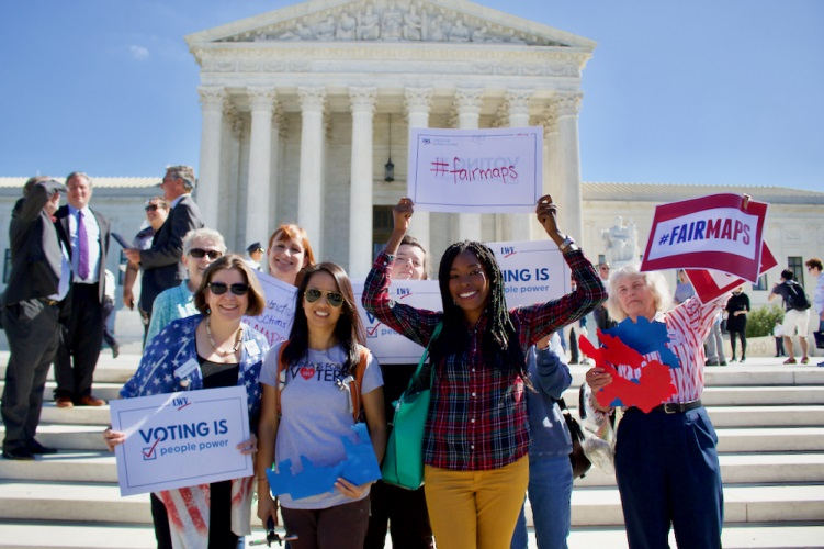 LWV members rally at the Supreme Court