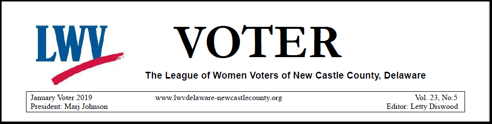 Image shows a sample header from the LWVNCC VOTER newsletter