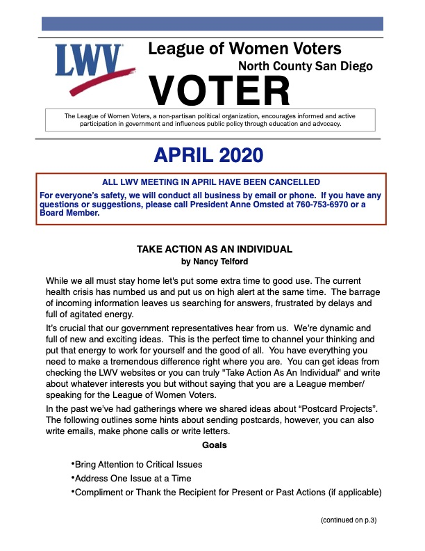 April 2020 LWVNCSD VOTER Newsletter
