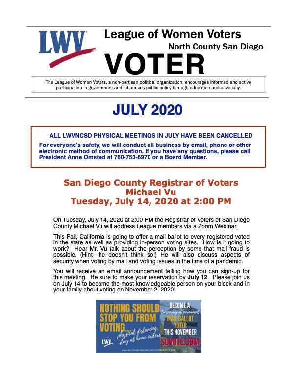 May 2020 LWVNCSD VOTER Newsletter