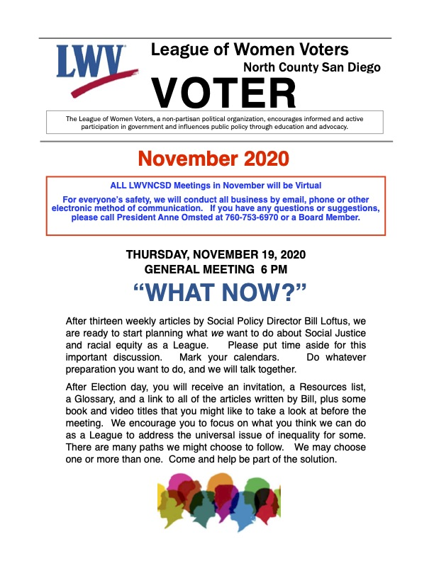 LWVNCSD Voter Newsletter November 2020