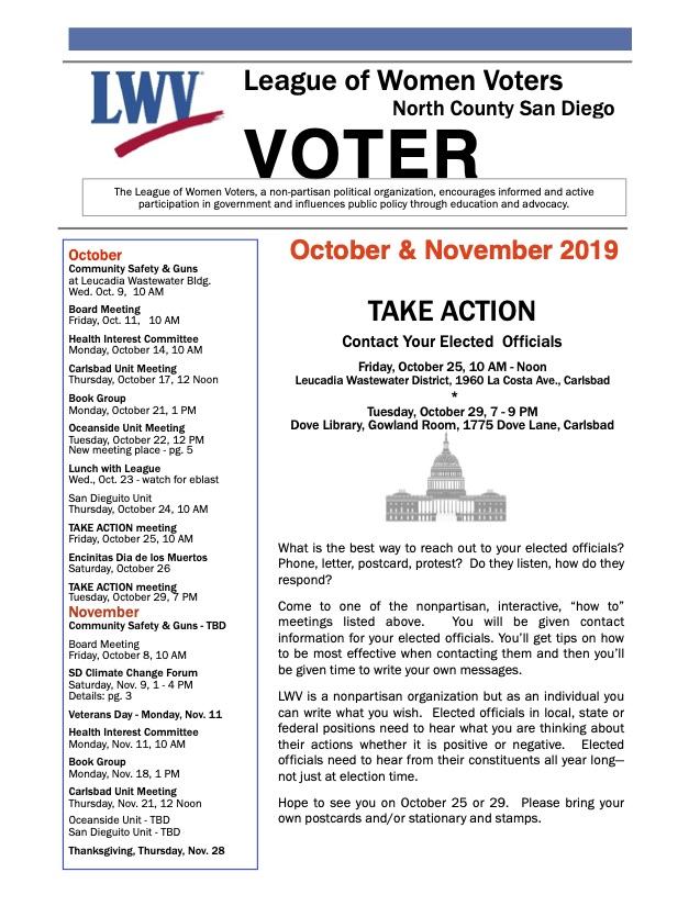 LWV North County Newsletter - Oct/Nov 2019