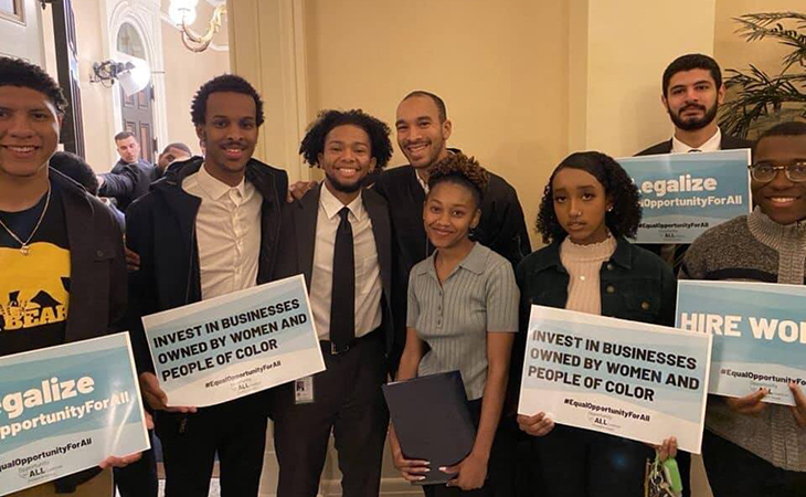 Group of young people gathered to lobby for Equal Opportunity
