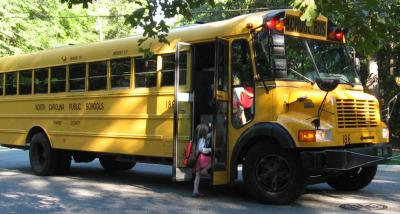 Child loading on bus