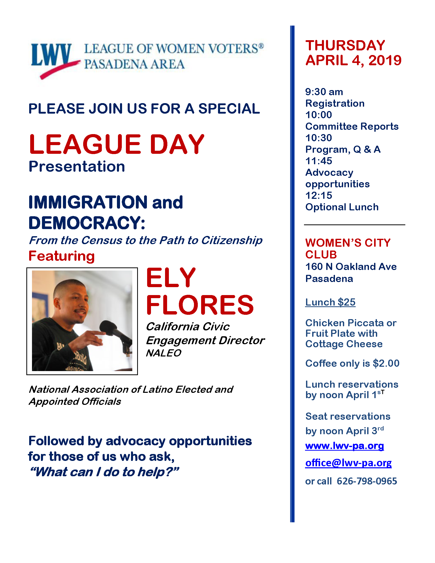 League Day Immigration and Democracy Flyer 040419