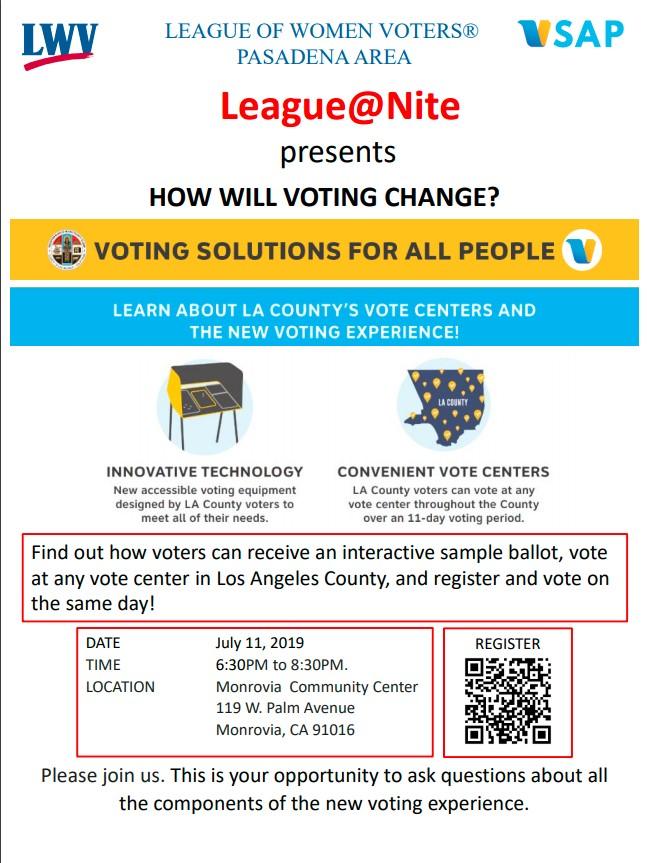 LWV PA League Nite Voter Services 07-19
