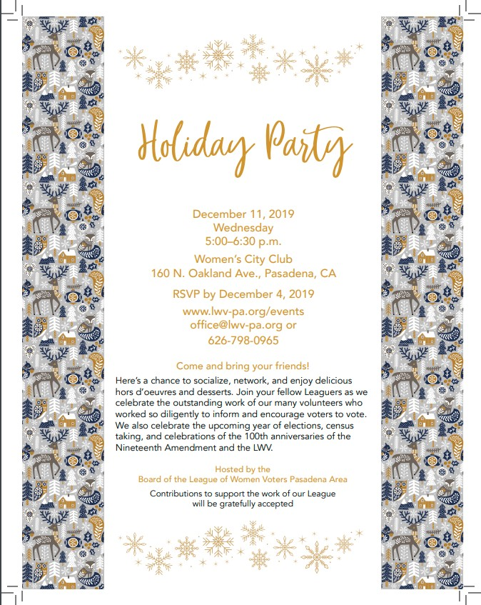 LWV-PA Holiday Party Dec 2019