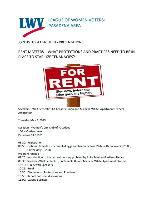 LWV Pasadena Area Rent Control Flyer 2019