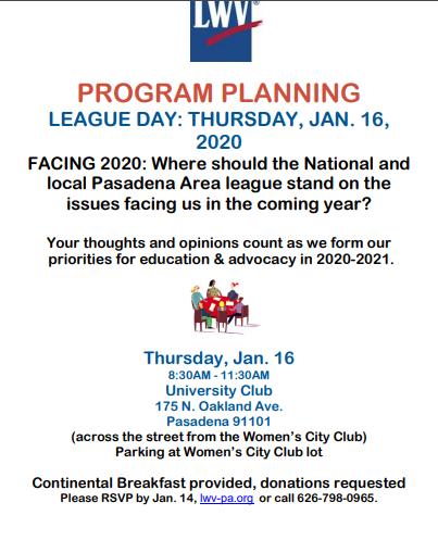 League Day Pasadena Area Planning Meeting 011620