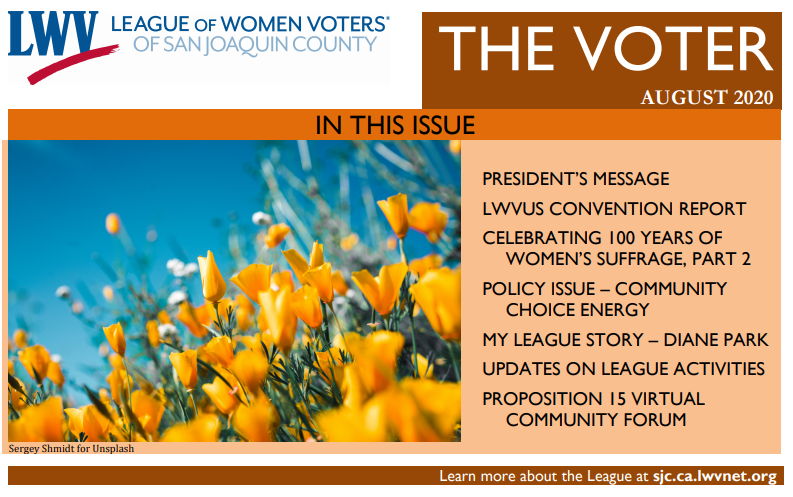 Cover of Voter Newsletter March 2020