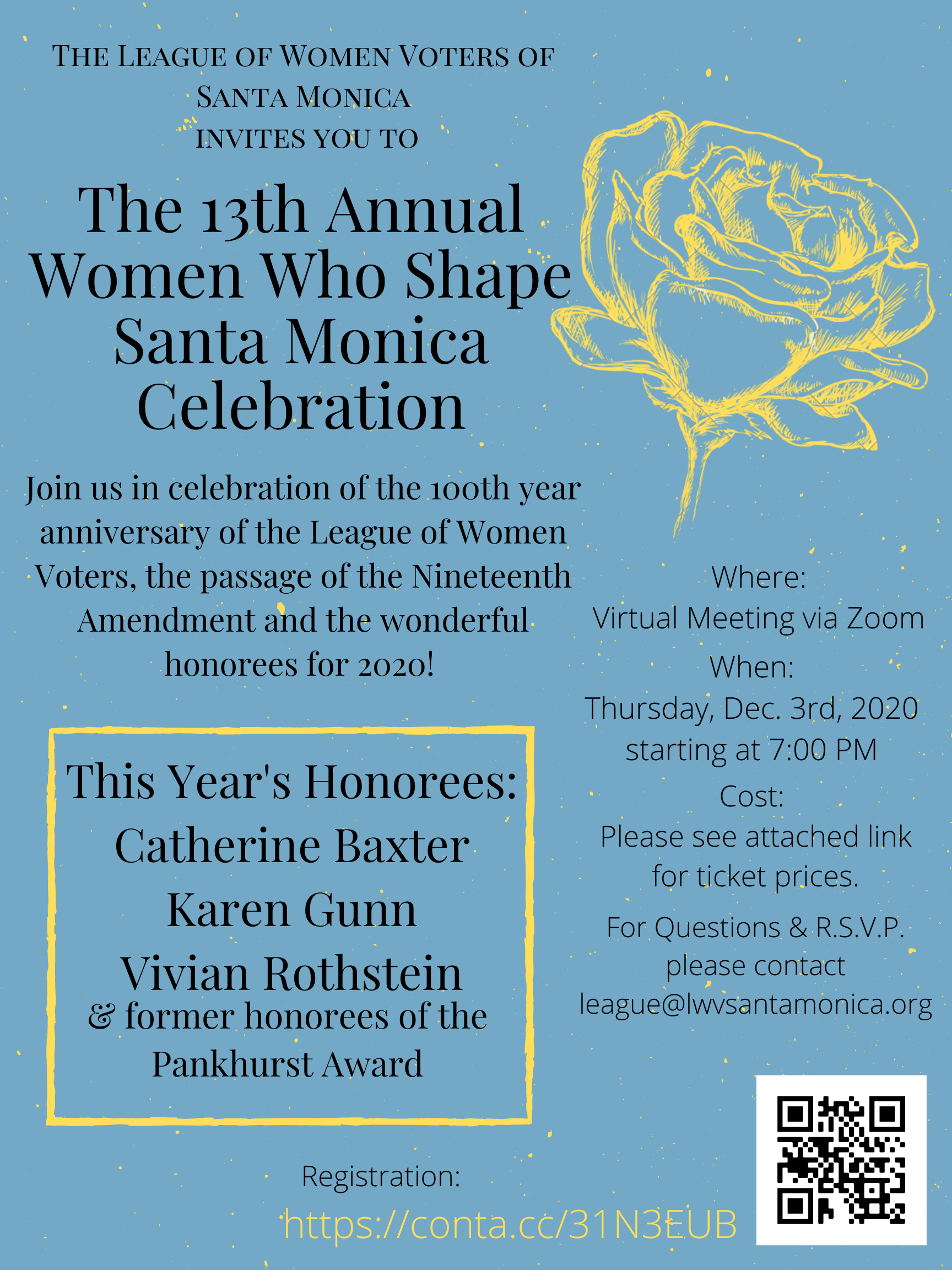 Informational Flyer for Women Who Shape Santa Monica 2020 Celebration. Blue Background with yellow rose image and text